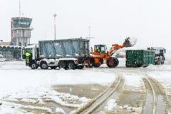 Aéroport Lugano Agno sous la neige Photographie stock