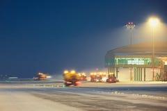 Aéroport pendant la tempête de neige Photos libres de droits