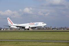 Aéroport Schiphol d'Amsterdam - AirEuropa Boeing 737 débarque Photographie stock