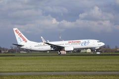 Aéroport Schiphol d'Amsterdam - AirEuropa Boeing 737 débarque Photo libre de droits