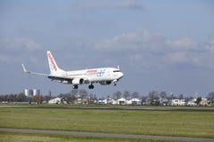 Aéroport Schiphol d'Amsterdam - AirEuropa Boeing 737 débarque Images libres de droits