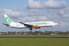 Aéroport Schiphol d'Amsterdam - Boeing 737 de Transavia débarque Photo stock