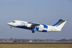 Aéroport Schiphol d'Amsterdam - CityJet Avro RJ85 décolle Photographie stock
