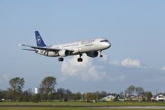 Aéroport Schiphol d'Amsterdam - A321 d'Air France (livrée de Skyteam) débarque Images libres de droits