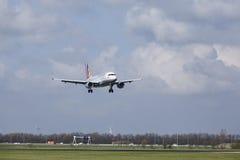 Aéroport Schiphol d'Amsterdam - Germanwings Airbus A319 débarque Image libre de droits