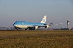 Aéroport Schiphol d'Amsterdam - KLM Boeing 747 décolle Photo libre de droits
