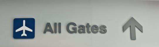 Aéroport tout le signe de portes Photo libre de droits