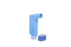 Aérosol d'asthme d'inhalateur d'isolement sur le blanc Photographie stock libre de droits