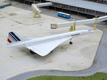Aérospatiale BAC Concorde. Famous airplane Concorde on September 17, 2011 in Madurodam, Netherlands. Detailed model of Aérospatiale-BAC Concorde displayed stock image