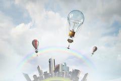 Aérostats volant haut Media mélangé Photographie stock libre de droits