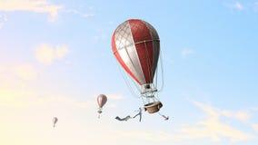 Aérostats volant haut Media mélangé Images stock