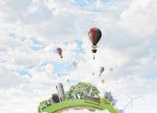 Aérostats volant haut Media mélangé Image stock