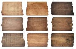 Aíslan a los tableros de madera de Brown, letrero, tablones en el fondo blanco Fotos de archivo
