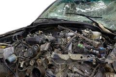 Aísle el frente del choque de coche negro causado accidentalmente Foto de archivo libre de regalías