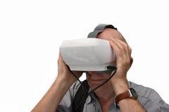 Aîné avec des verres de réalité virtuelle Photo libre de droits