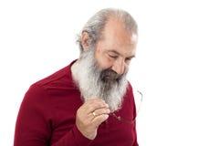 Aîné avec la pleine barbe blanche Photo stock