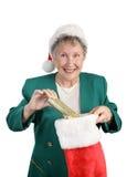 Aîné avec le bas de Noël Photo libre de droits