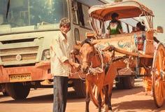 Aîné avec le chariot de cheval allant aux rues des rues occupées du trafic d'une ville indienne Image libre de droits