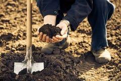 Aîné avec le sol dans des paumes Photos libres de droits
