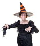 Aîné dans le costume de sorcière de Veille de la toussaint Photo stock