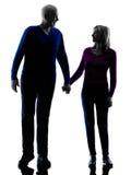 Aîné de couples marchant tenant la silhouette de mains Image stock