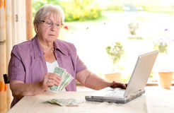 Aîné féminin avec l'argent et l'ordinateur Image libre de droits