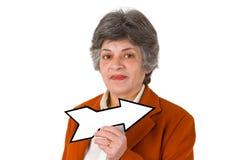 Aîné féminin avec la flèche blanc Photo libre de droits