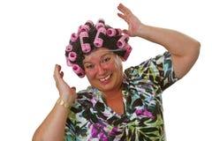 Aîné féminin avec la perruque drôle Photo libre de droits
