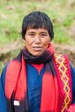 Aîné féminin dans des vêtements traditionnels au Bhutan Photo libre de droits