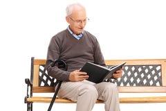 Aîné joyeux lisant un livre posé sur un banc Photo stock