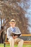 Aîné lisant un livre en parc le jour ensoleillé Images libres de droits