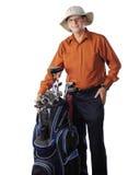 Aîné préparez pour jouer au golf Photographie stock libre de droits
