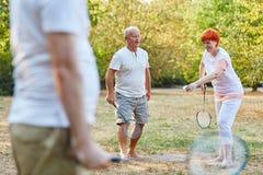 Aînés actifs jouant en parc Image libre de droits