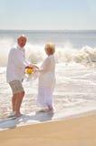 Aînés attirants en bonne santé sur la plage Images libres de droits