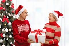 Aînés avec des chapeaux de Noël gifting devant Chris Photos libres de droits