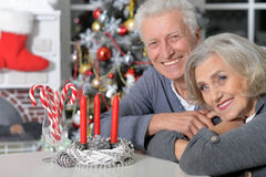 Aînés célébrant Noël Photos libres de droits