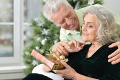 Aînés célébrant Noël Image stock