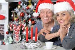 Aînés célébrant Noël Photographie stock libre de droits