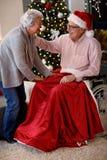 Aînés célébrant Noël - beau couple plus âgé Images libres de droits