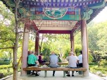 Aînés chinois en parc Photos stock