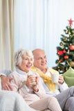 Aînés dépensant Noël égalisant ensemble Image stock