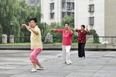 Aînés féminins pratiquant Tai Chi pendant le début de la matinée, Xiang Yang, Chine Photo stock