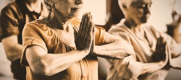 Aînés faisant le yoga avec les yeux fermés photo stock