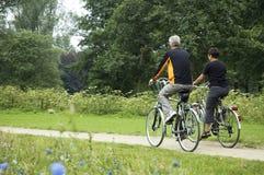 Aînés faisants du vélo en stationnement Images libres de droits