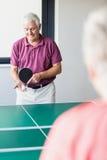 Aînés jouant le ping-pong Image stock