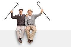 Aînés joyeux avec les cannes de marche se reposant sur un panneau Photo stock