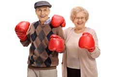 Aînés joyeux posant avec des gants de boxe Images libres de droits