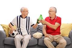 Aînés observant un jeu et buvant de la bière Photo libre de droits
