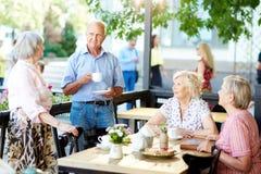Aînés passant le temps en café extérieur Images libres de droits
