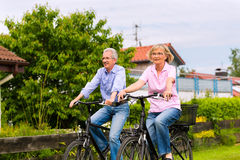 Aînés s'exerçant avec la bicyclette Images libres de droits